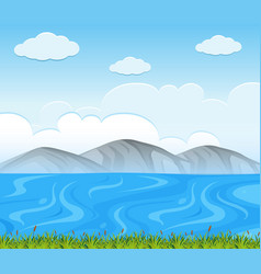 Background scene with blue lake vector