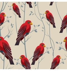 Bird on a branch Seamless pattern with red birds vector image