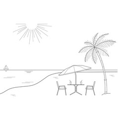 Black and white drawing striped beach umbrella vector