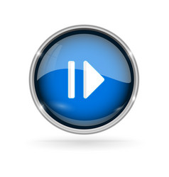blue glass button with chrome frame play and vector image