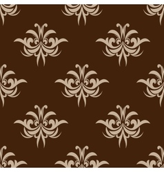 Brown seamless floral pattern in damask style vector image