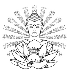 buddha and lotus with beam light vector image