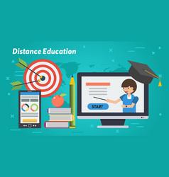 business education banner - distance woman teacher vector image
