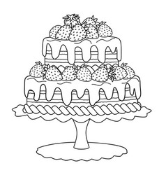 Cake with strawberries for coloring book vector