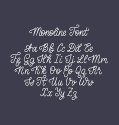calligraphy monoline font of latin letters on dark vector image