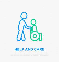 Care about disabled man in wheelchair line icon vector