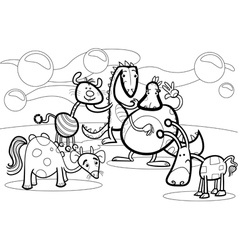 cartoon fantasy group coloring book vector image