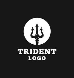 circular trident logo design vector image