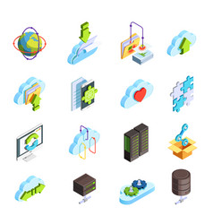 cloud service isometric icons set vector image