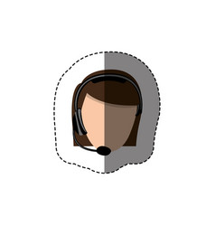Color sticker with head of female customer service vector