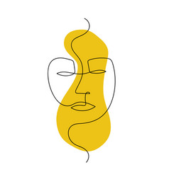 continuous line abstract face contemporary vector image