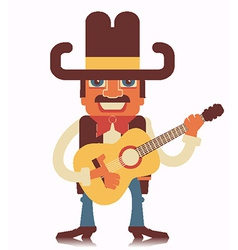 Cowboy with guitar isolated on white vector image