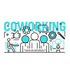 coworking banner outline style vector image