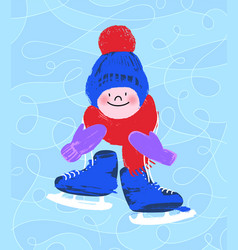 cute kids character with skates vector image