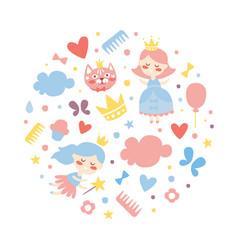 cute little princess seamless pattern circular vector image