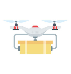 drone package delivery icon flat isolated vector image