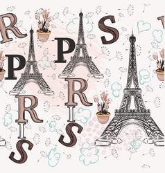 Eifel tower letters dandelions and flowers vector
