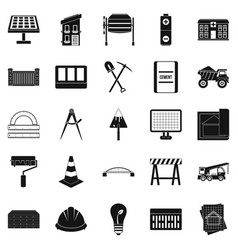 Excavations icons set simple style vector