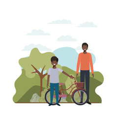 Father and son with bicycle in landscape vector