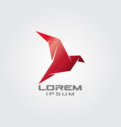 flying origami red dove logo vector image