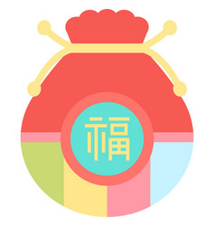 Fortune bag with hieroglyph chinese tradition vector