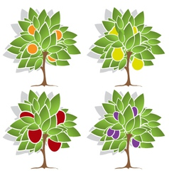 Four fruit trees vector