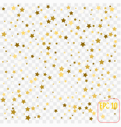 Frame of gold confetti gold stars on transparent vector