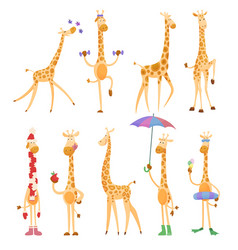 funny giraffes giraffes in a cartoon style is vector image
