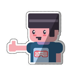 Gamer boy pixelated vector