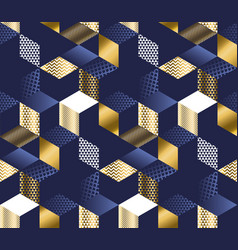geometric blue and gold cubes luxury pattern vector image