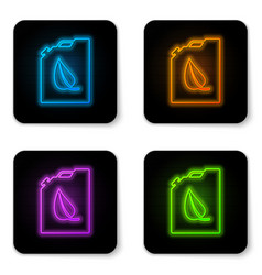 glowing neon bio fuel canister icon isolated on vector image