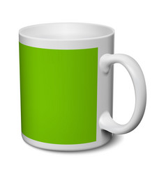 gray and green mug realistic 3d mockup on a white vector image