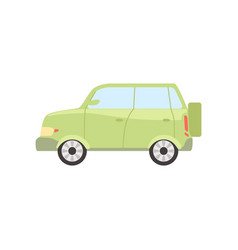 Green car side view isolated vector