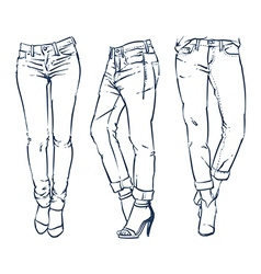 Hand drawn fashion design jeans outline vector image