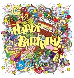 Happy Birthday doodle greeting card on background vector image
