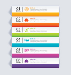 Infographics tab in horizontal paper index with 6 vector
