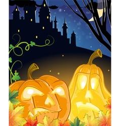Jack O Lanterns near the haunted castle vector image