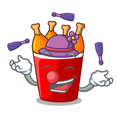 juggling fried chicken bucket isolated on mascot vector image