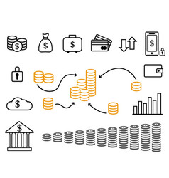 large set icons on theme money vector image