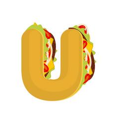 Letter u tacos mexican fast food font taco vector