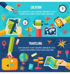 Location And Traveling Banner Set vector
