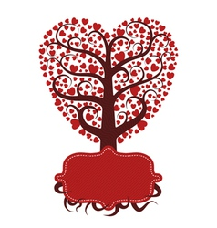 Love tree with banner vector image