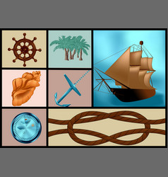 Marine themes set vector