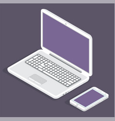 modern laptop and phone on a dark background vector image