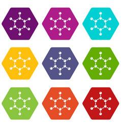 molecule icons set 9 vector image