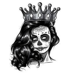 monochromatic skull girl with a crown vector image
