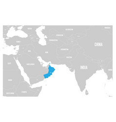 Oman blue marked in political map south asia vector