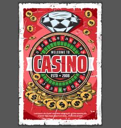 Online casino gambling on roulette wheel vector