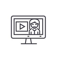 online tutorialseducation in monitor line vector image vector image