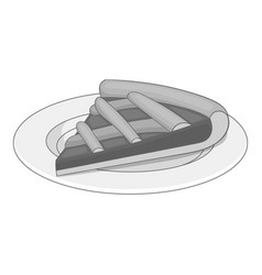 piece of cake on a plate icon monochrome vector image